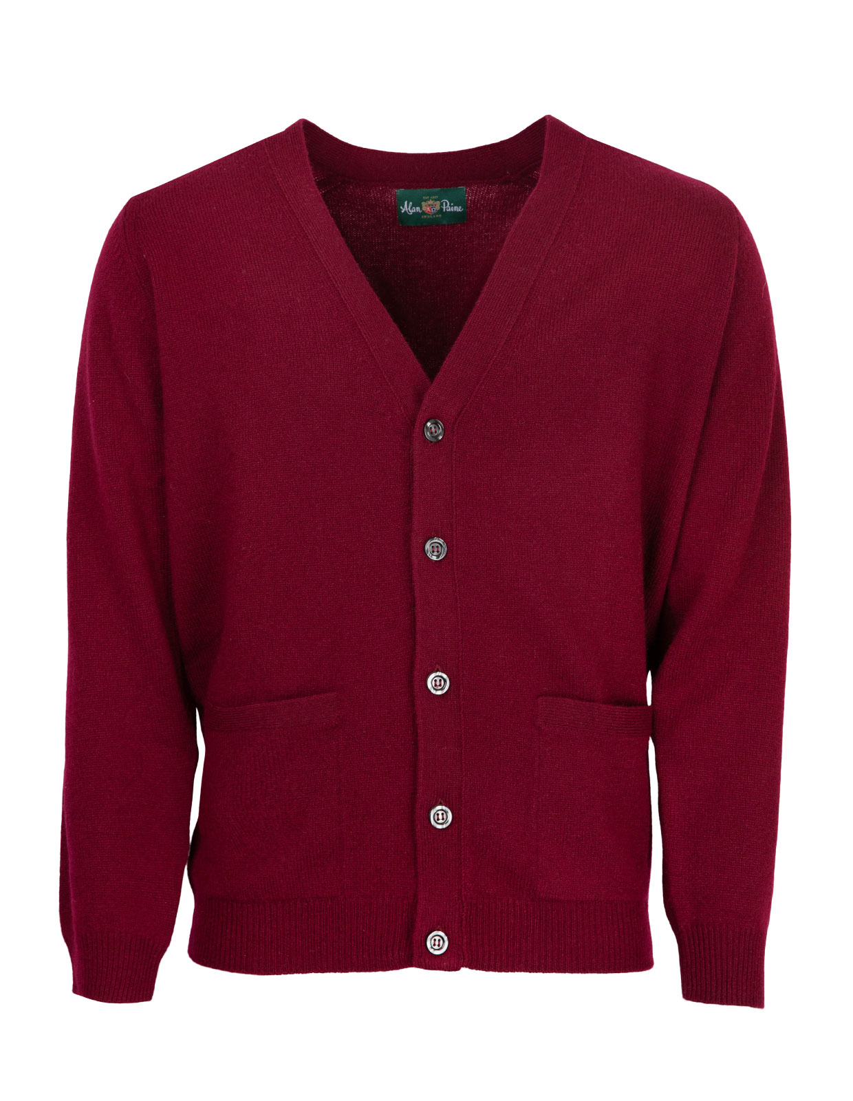 Cornwall Vee Neck Cardigan Bordeaux