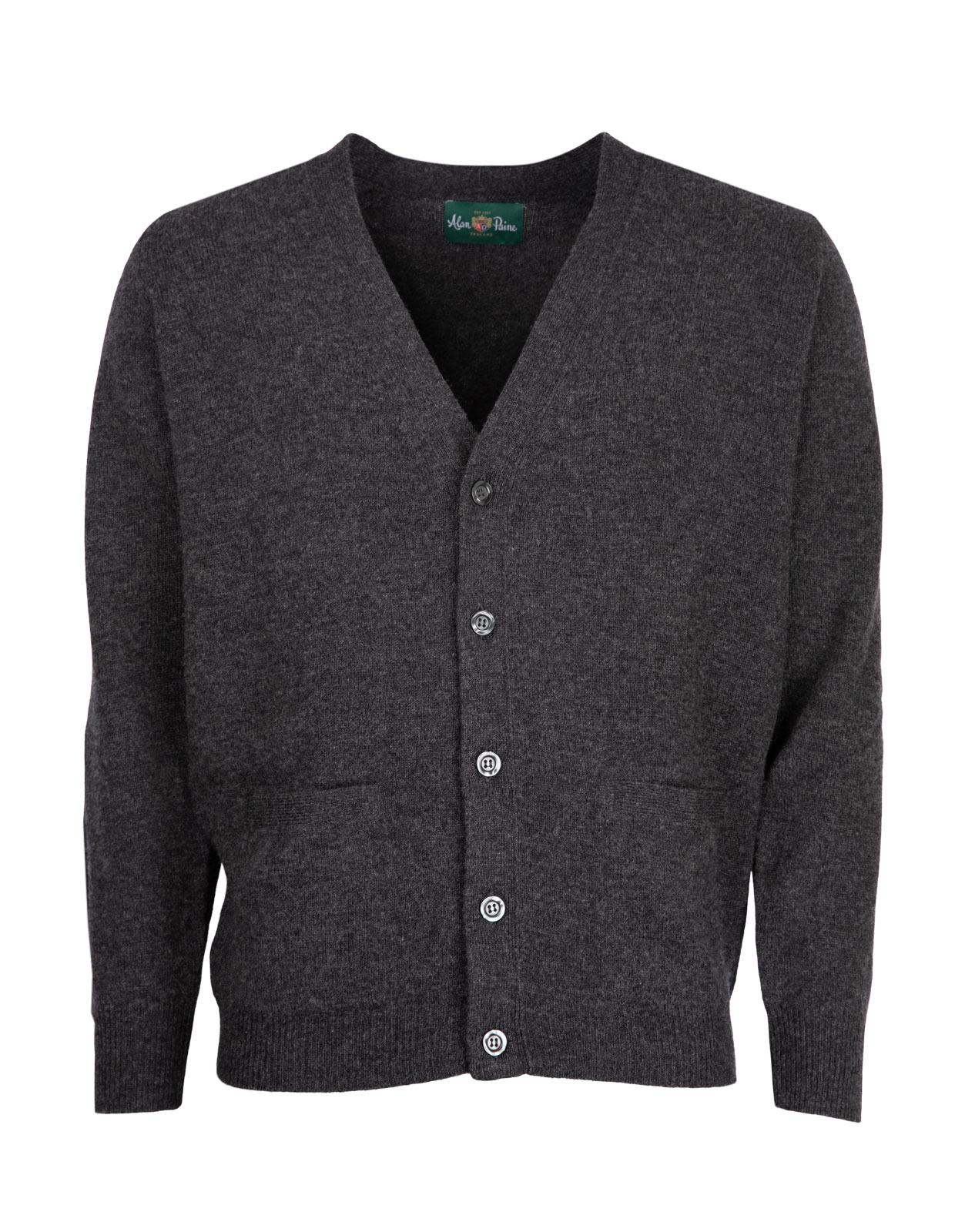 Cornwall Vee Neck Cardigan Charcoal