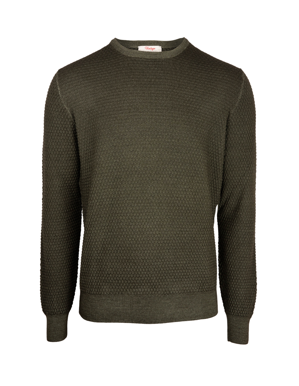 Knitted Texture Vintage Merino Crew Neck Green