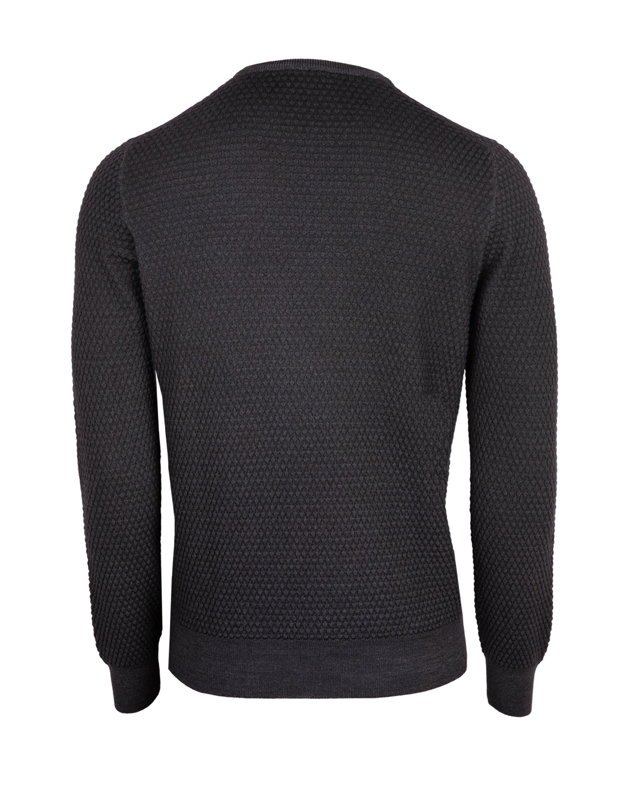 Knitted Texture Vintage Merino Crew Neck Dark Grey