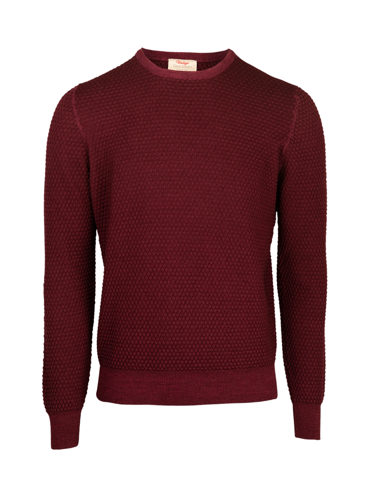 Knitted Texture Vintage Merino Crew Neck Bordeaux