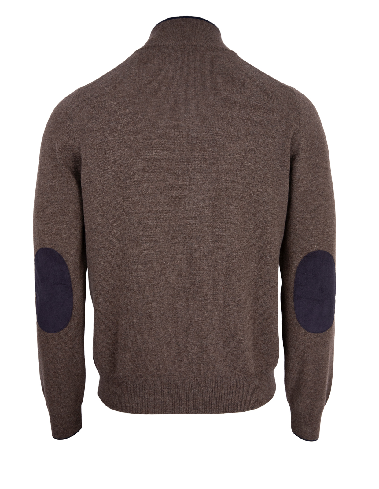 Half Zip W Patch Wool & Cashmere Brown