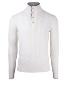 Button Cable Sweater Wool & Cashmere White