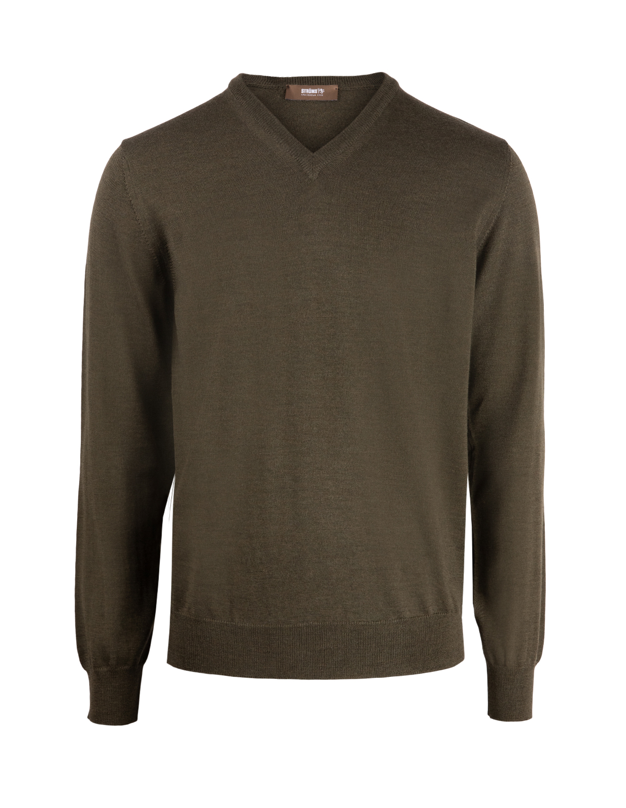 V-Neck Merino Olive Green