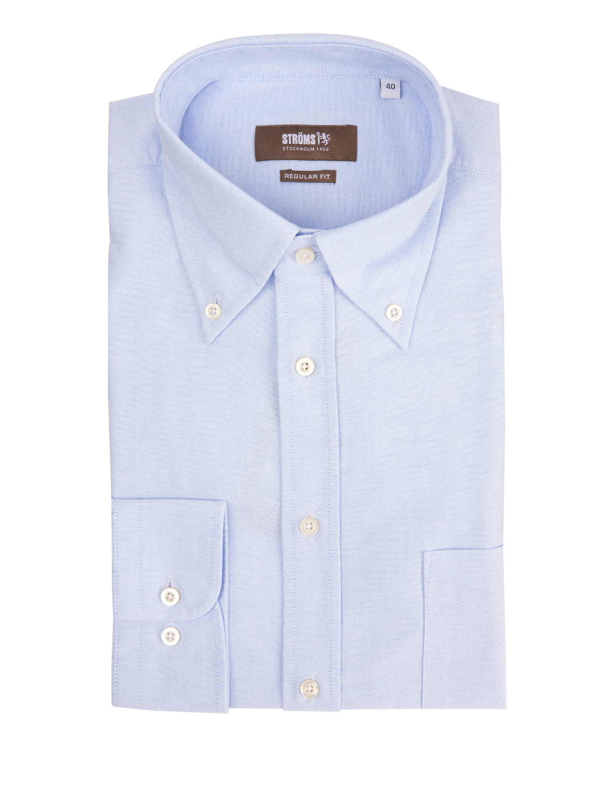 Regular Fit Button Down Oxford Shirt Light Blue Stl 46
