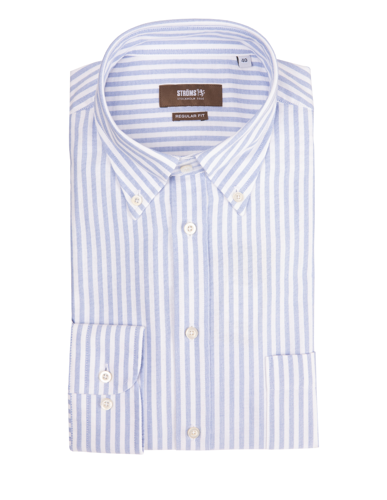 Regular Fit Button Down Oxford Shirt Stripe Blue/White