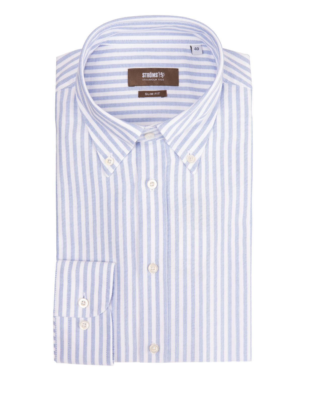 Slim Fit Button Down Oxfordskjorta KadettrandBlåVit
