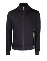 Full Zip Vintage Merino Dark Grey