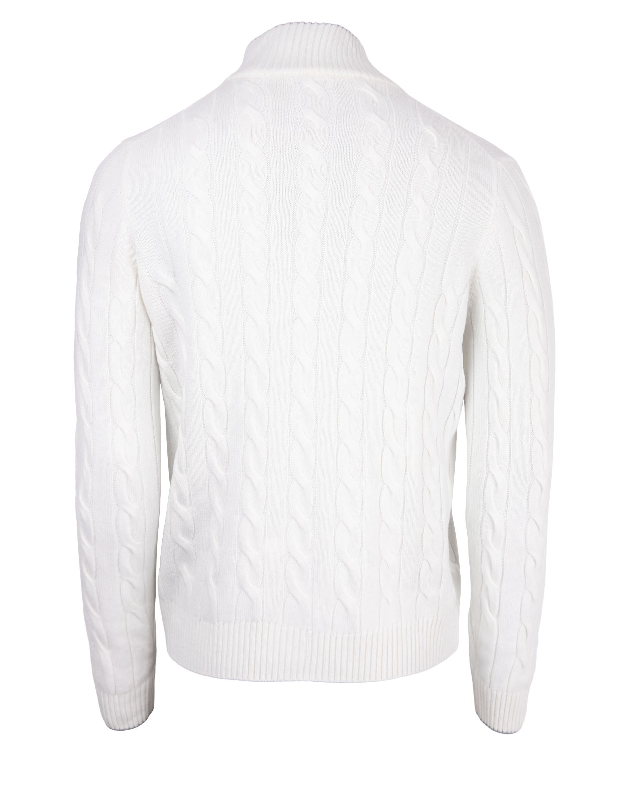 Full Button Cable Cardigan Wool & Cashmere White