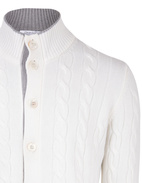 Full Button Cable Cardigan Wool & Cashmere White Stl 50