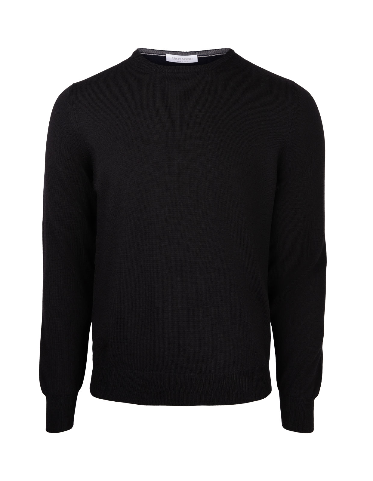Fashion Fit Crew Neck Merino Pullover Black