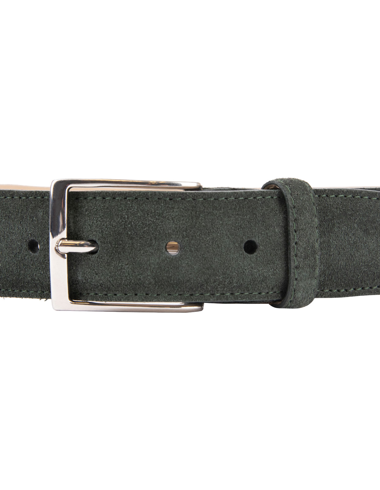 Timeless 3,5cm Belt Suede Calf Dark Olive Stl 80