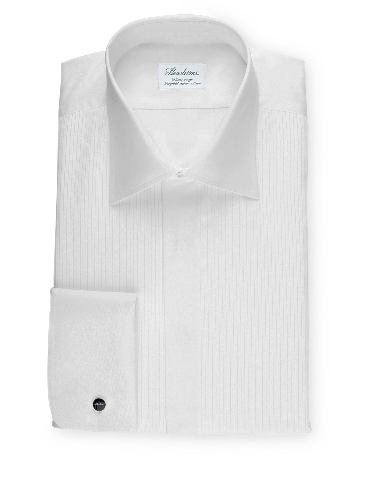 White Fitted Body Tuxedo Shirt With Classic Collar Vit Stl 44