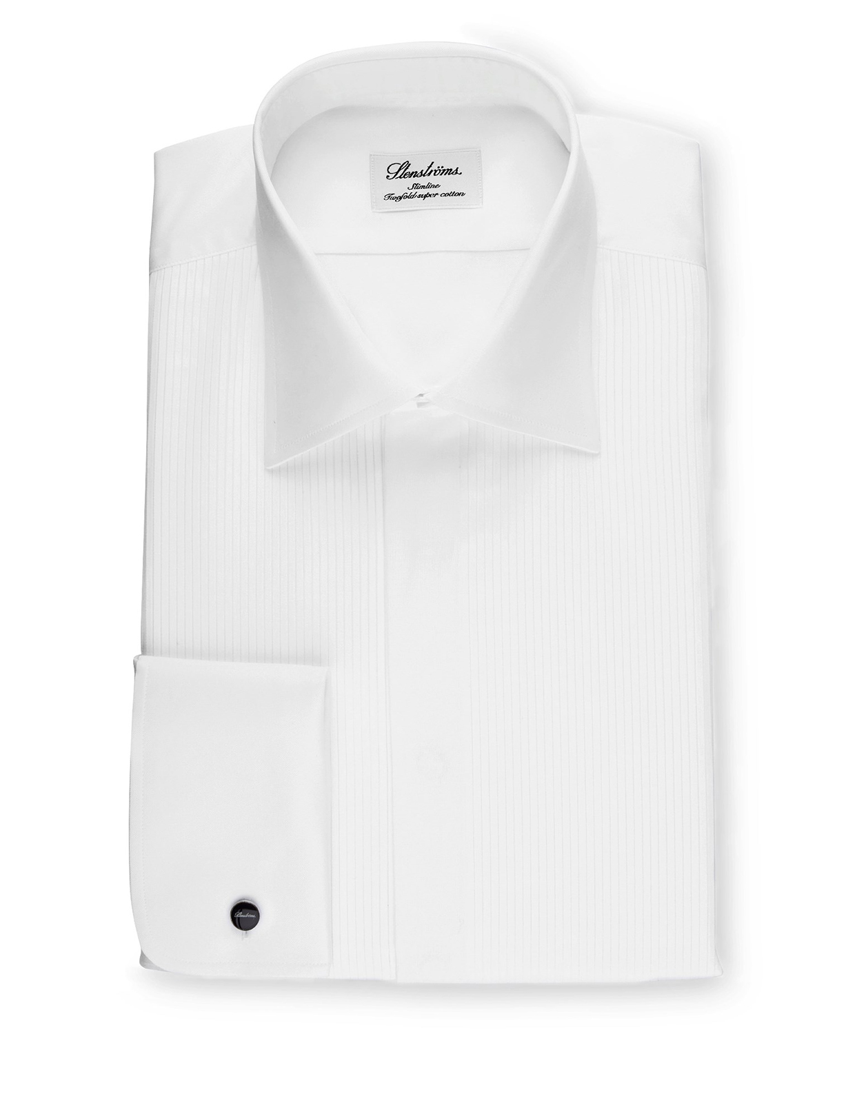 Slimline Tuxedo Shirt With Classic Collar Vit