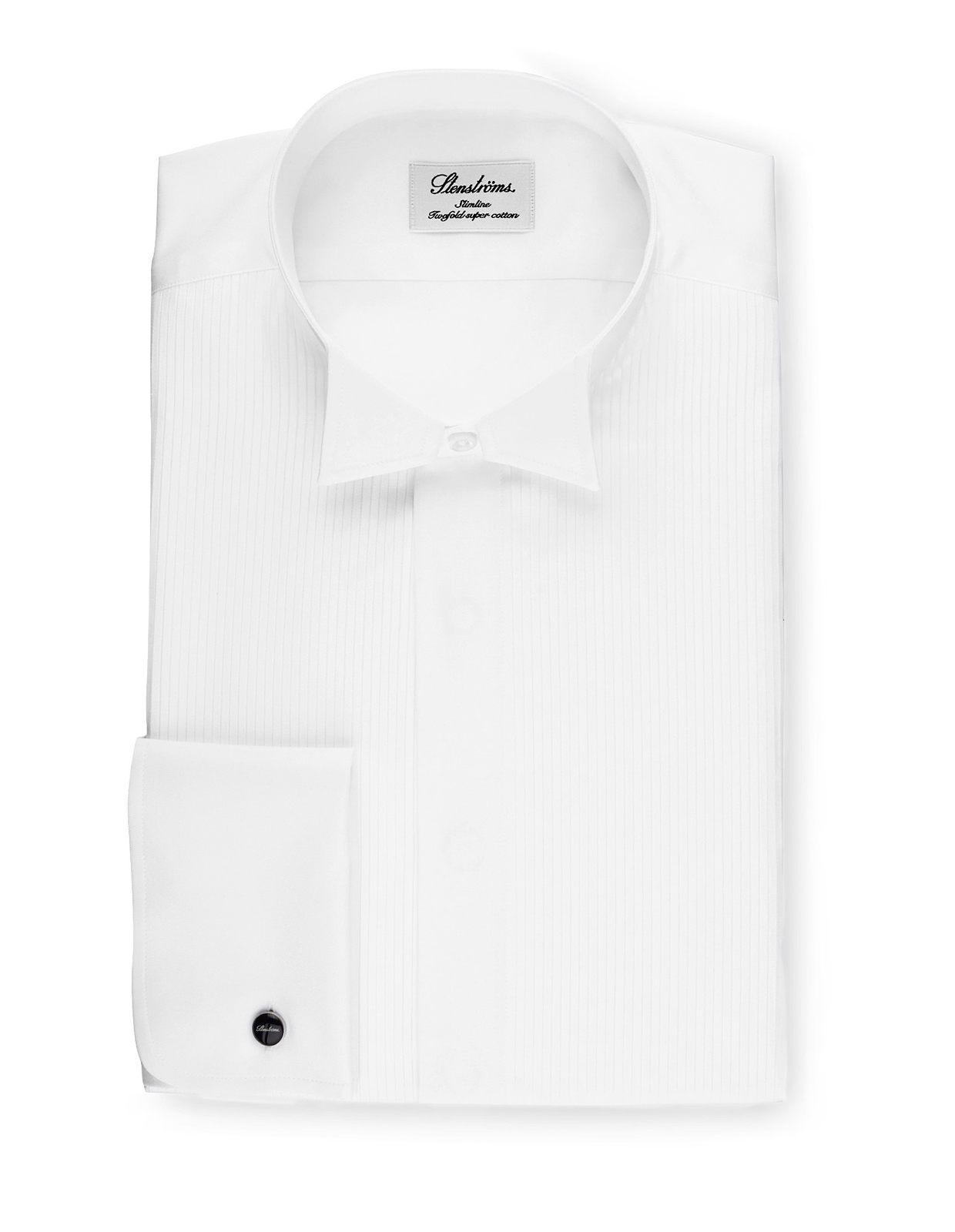 Slimline Tuxedo Shirt With Wing Collar Vit