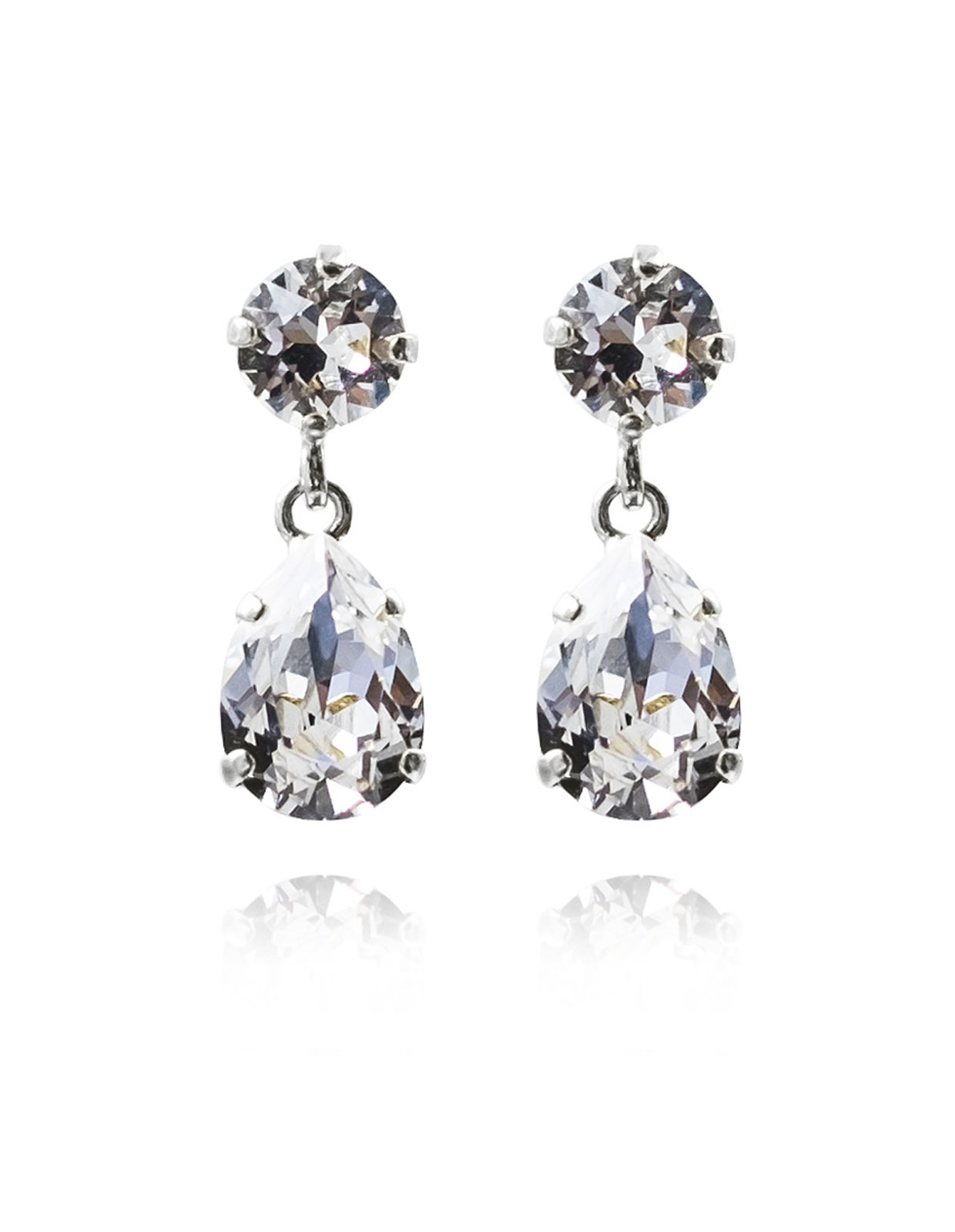 Mini drop earring rodium Crystal