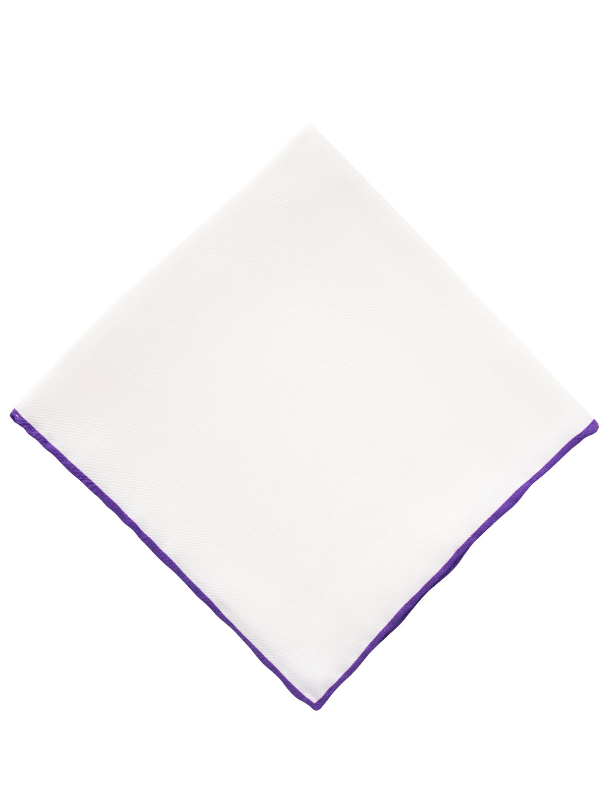 Pocket Square Silk Colored Edging White/Purple