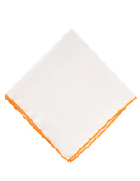 Pocket Square Silk Colored Edging White/Orange