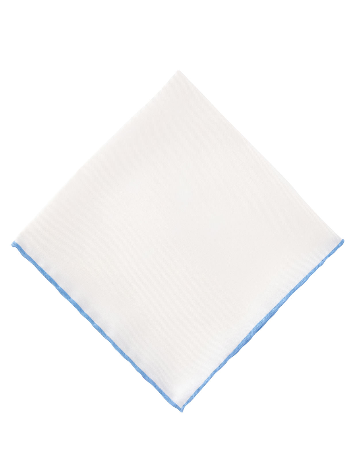 Pocket Square Silk Colored Edging White/Light Blue