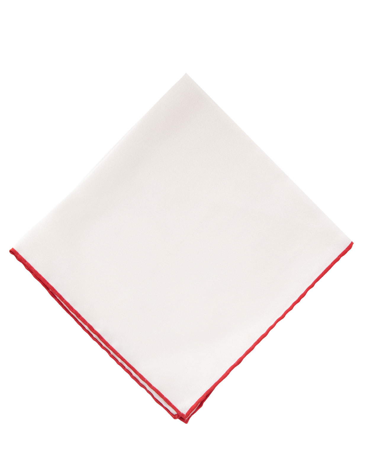 Pocket Square Silk Colored Edging White/Red