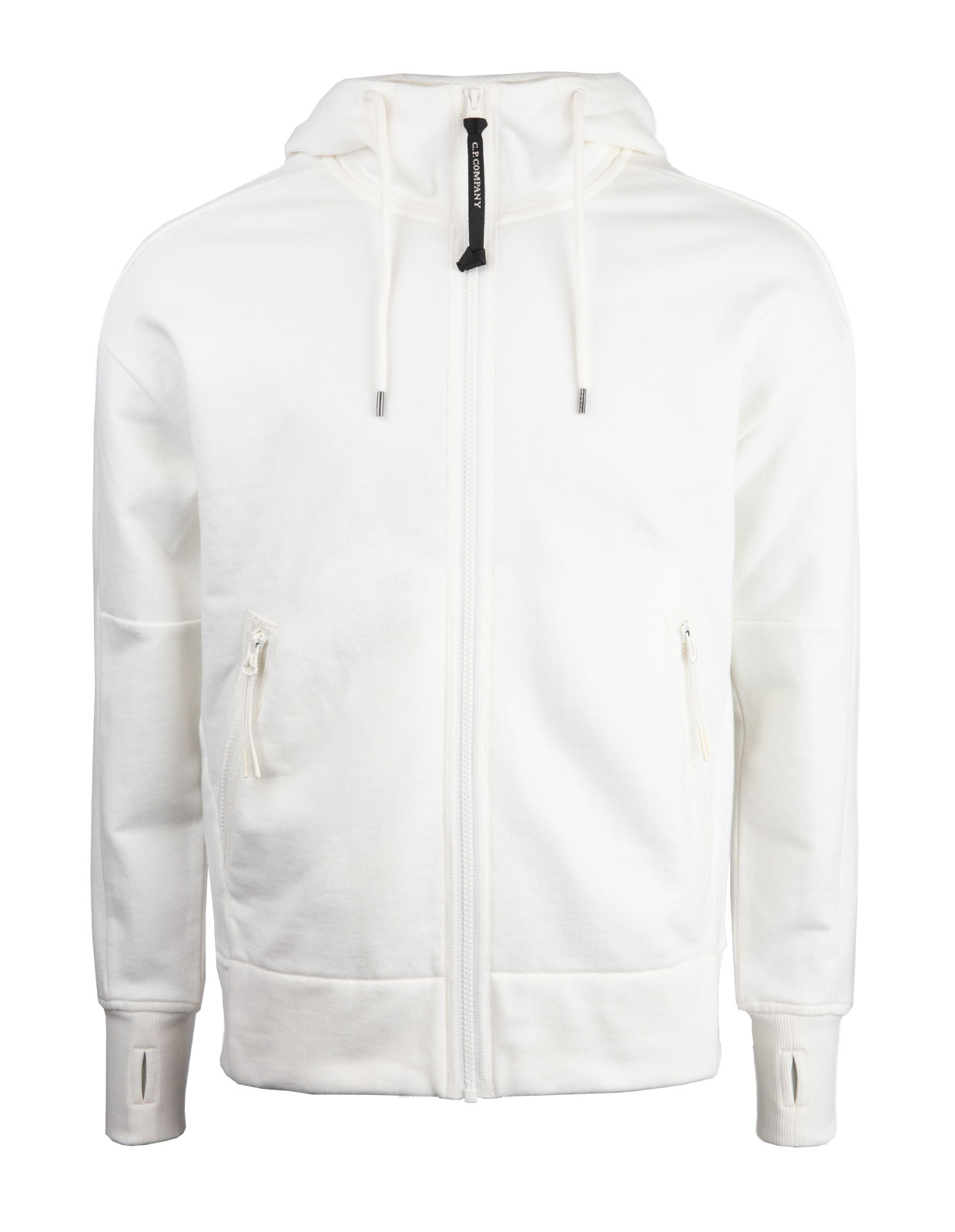 Diagonal Raised Fleece Full Zip Goggle Hoodie White