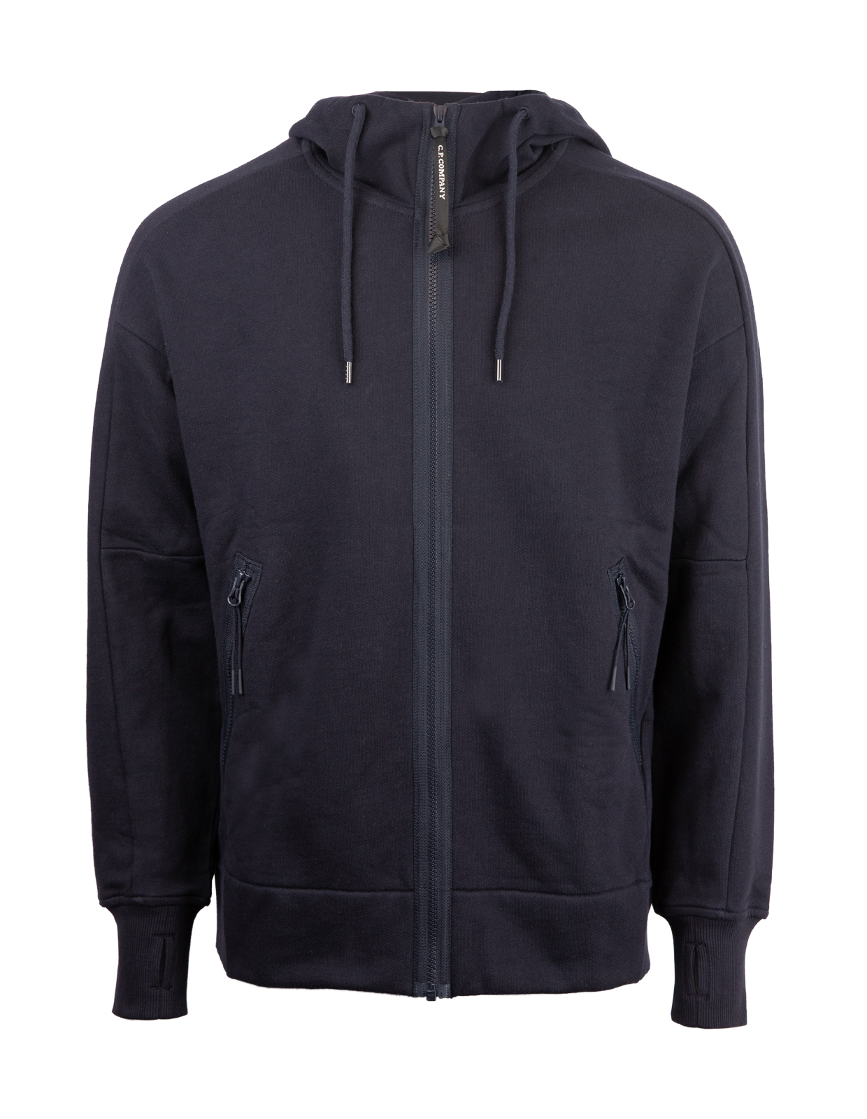 Diagonal Raised Fleece Full Zip Goggle Hoodie Navy