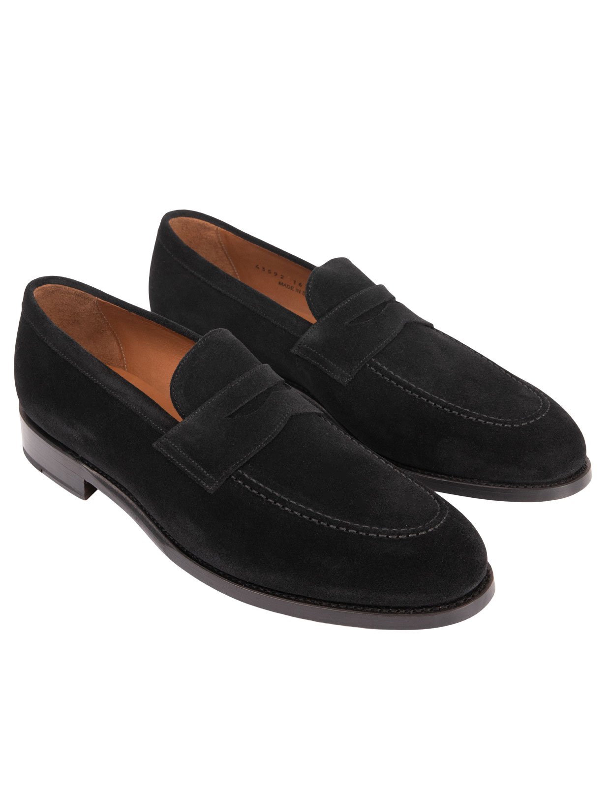 Penny Loafers Suede Black Stl 9.5