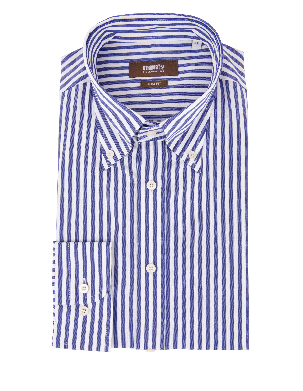 Slim Fit Button Down Cotton Shirt Stripe Blue/White