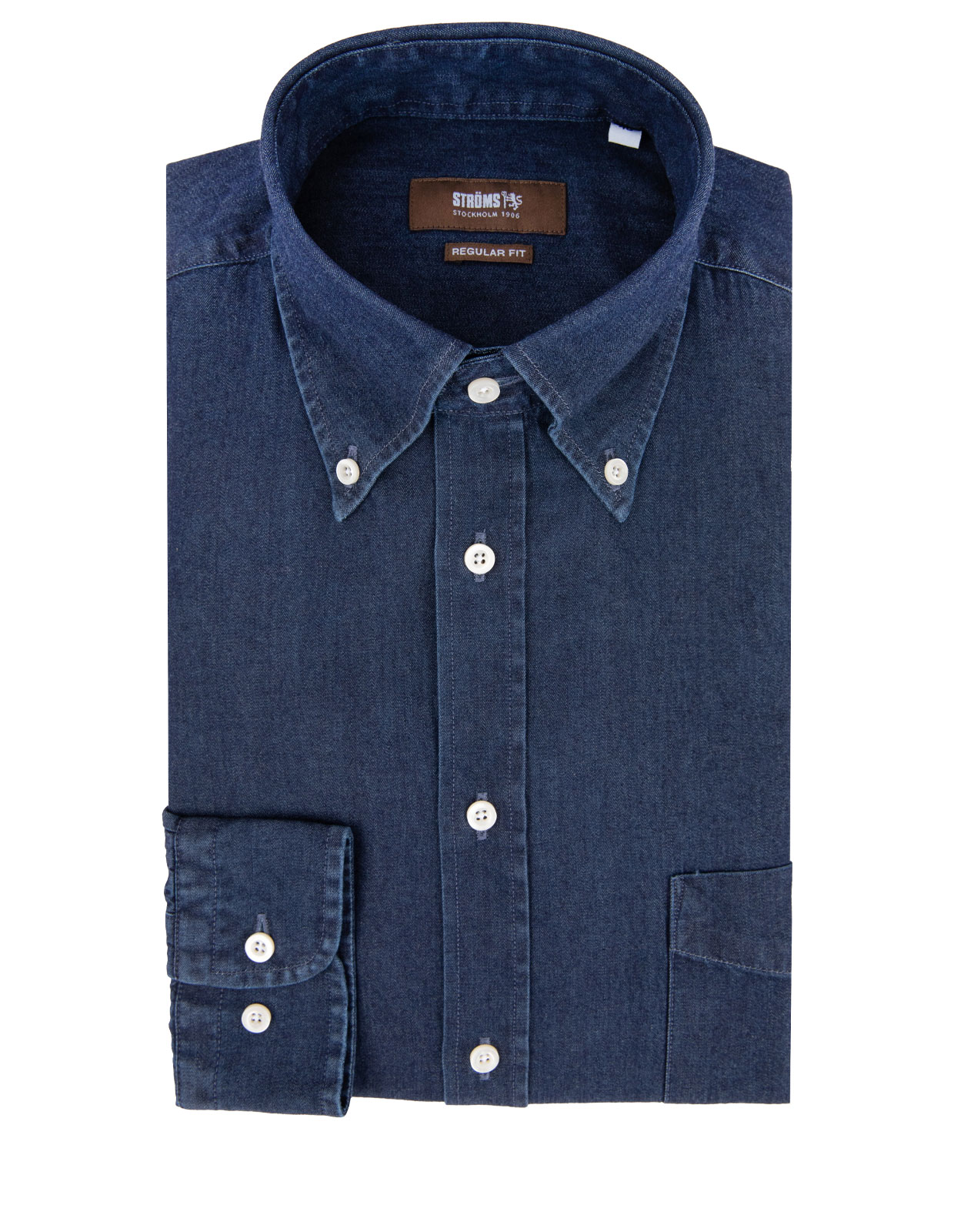 Regular Fit Button Down Denim Shirt Dark Blue