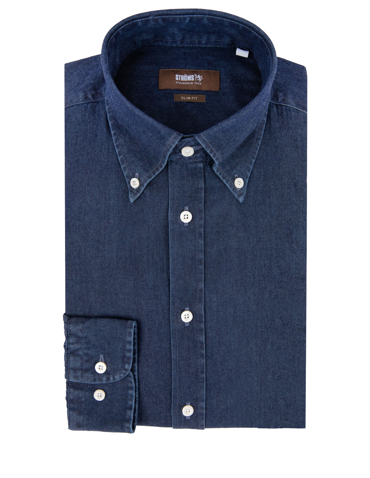 Slim Fit Button Down Skjorta Denim Denimblå