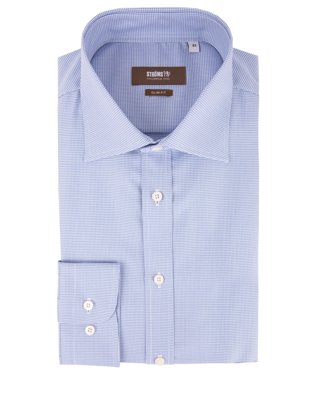 Slim Fit Cotton Shirt Pepita Check Blue