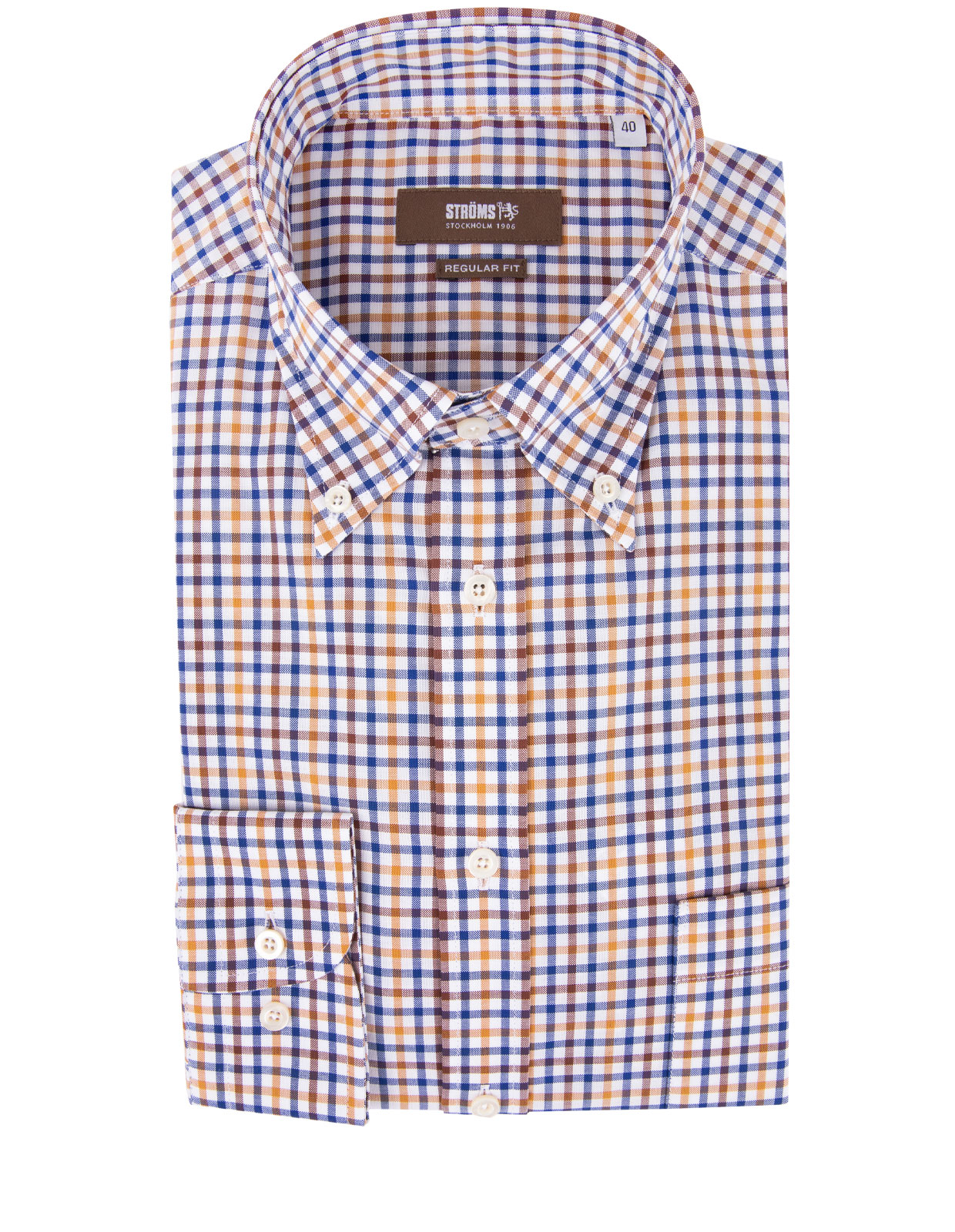 Regular Fit Button Down Skjorta Rutig RostBlåVitBrun