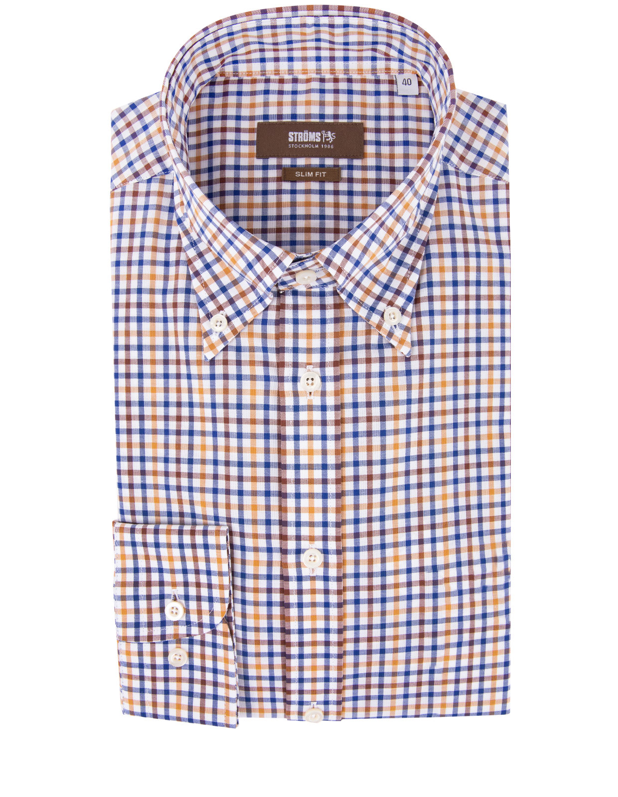 Slim Fit Button Down Skjorta Oxford Rutig RostBlåVitBrun