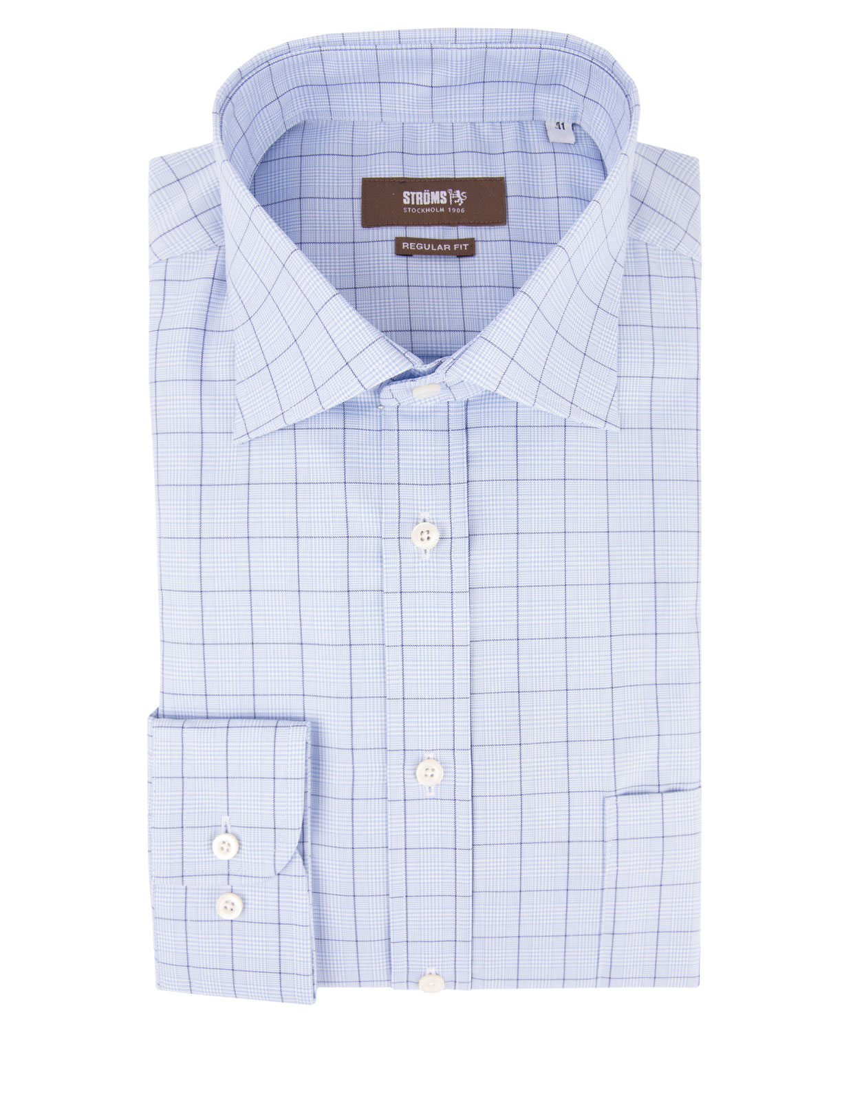 Regular Fit Cotton Shirt Glencheck Blue