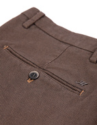 Milano Slim Chinos Bomull Stretch Mikromönster Brown