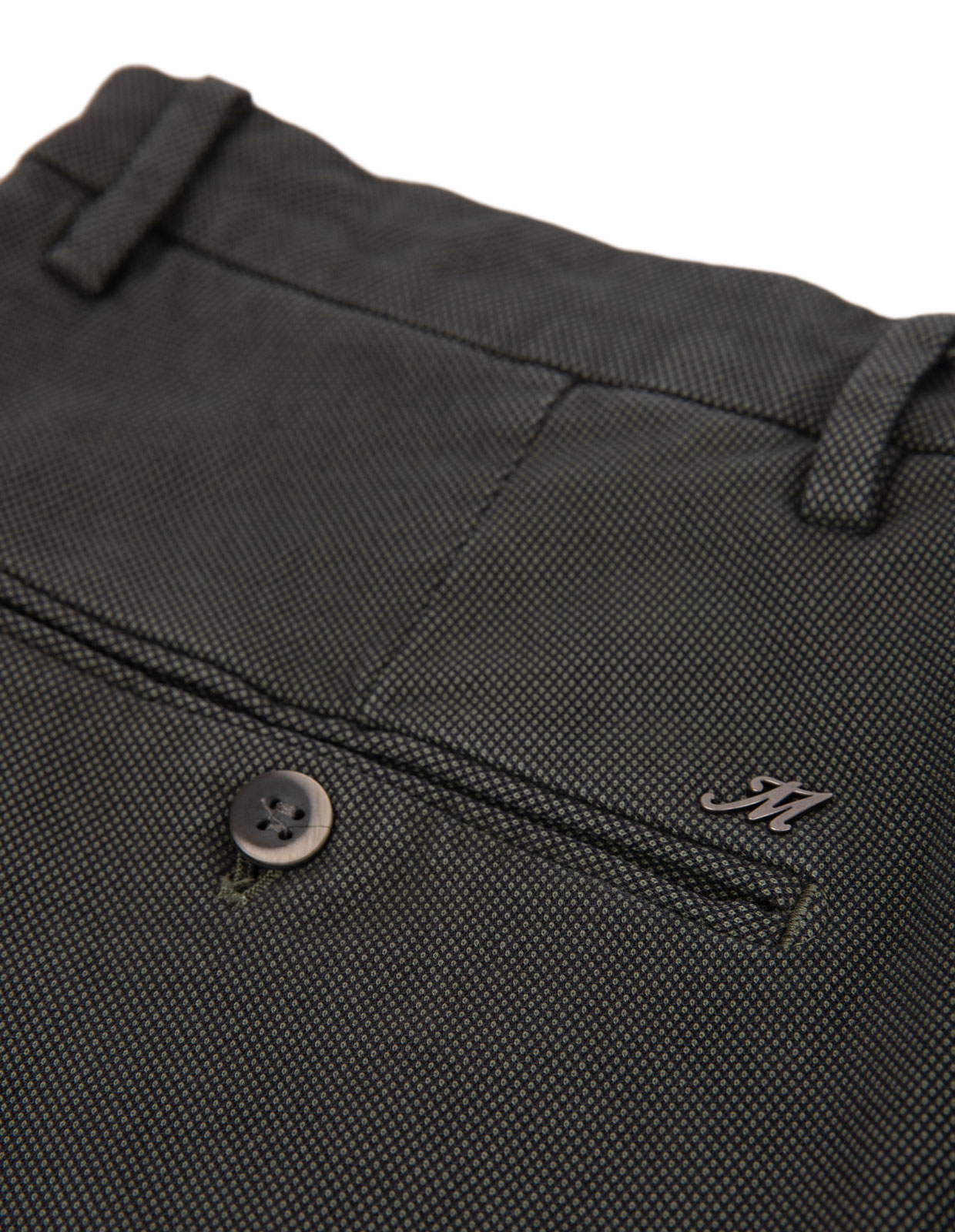 Milano Slim Chinos Bomull Stretch Mikromönster DarkGreen