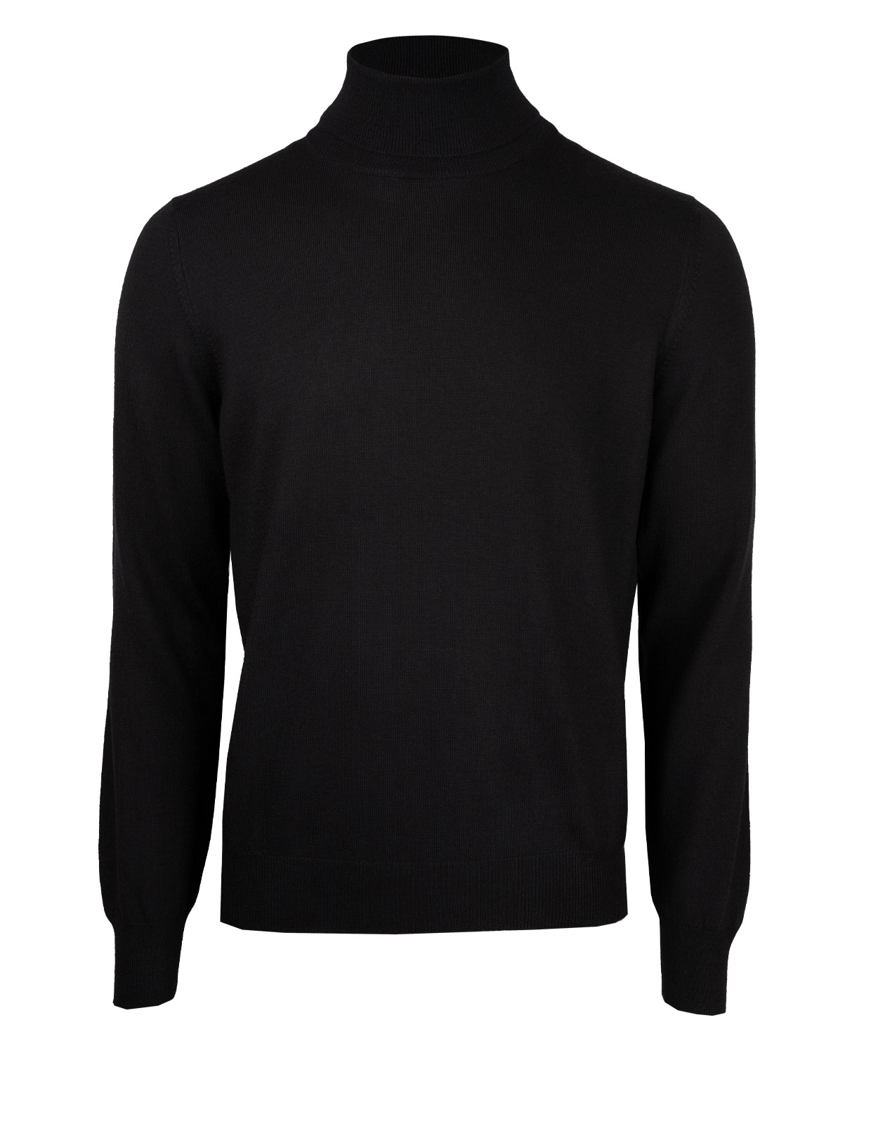 Extra Fine Merino Roll Neck Fashion Fit Black