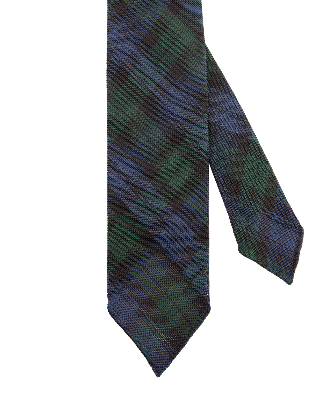 Tartan Handrolled Fine Woven Grenadine Tie Blackwatch
