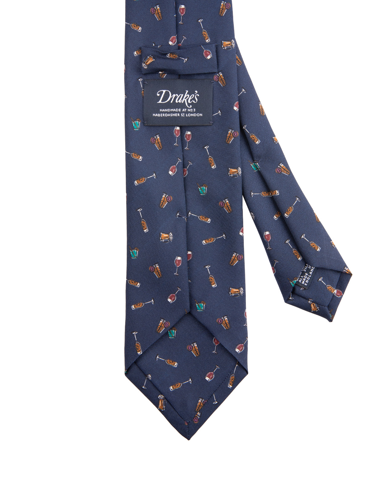 Drinks Patterned Handmade Silk Tie Navy