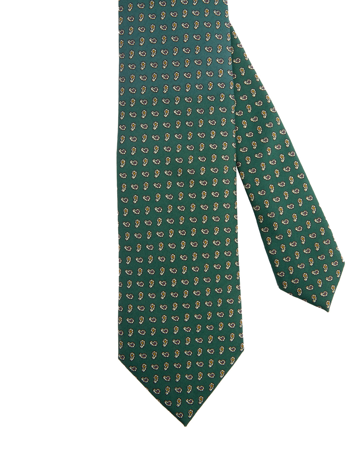 Classic Patterned Handmade Silk Tie Green