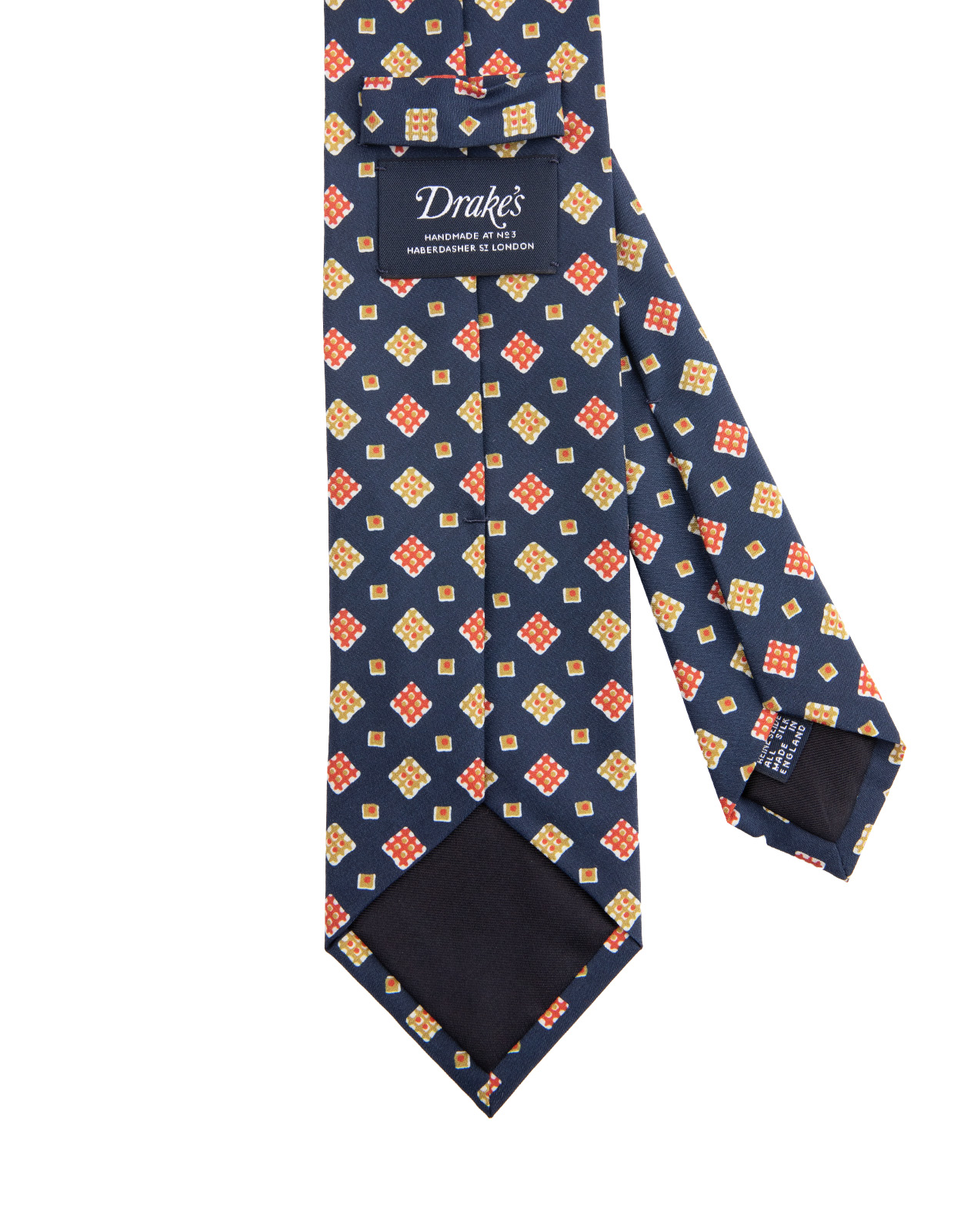 Retro Printed Handmade Silk Tie Blue