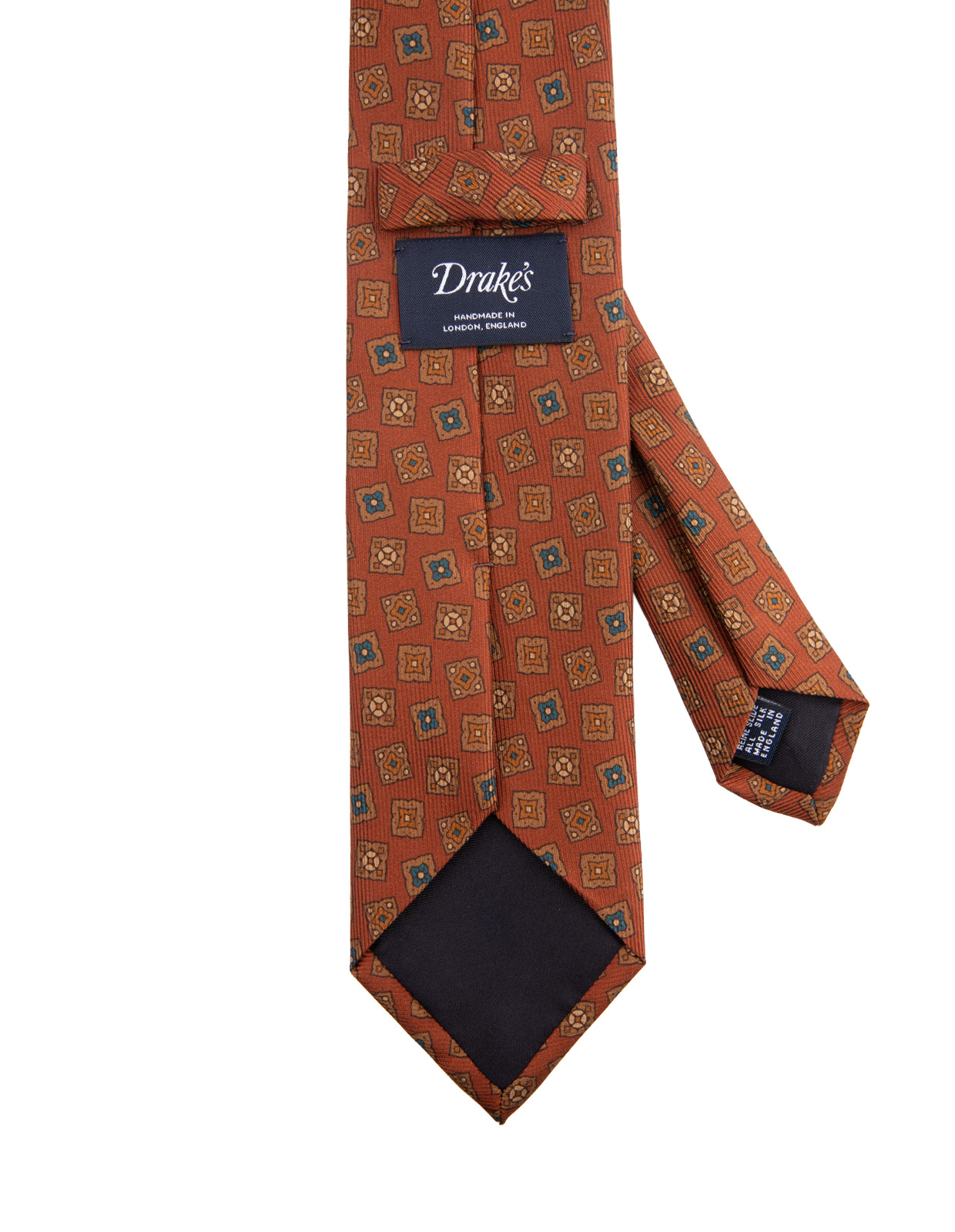 Classic Patterned Handmade Silk Tie Amber