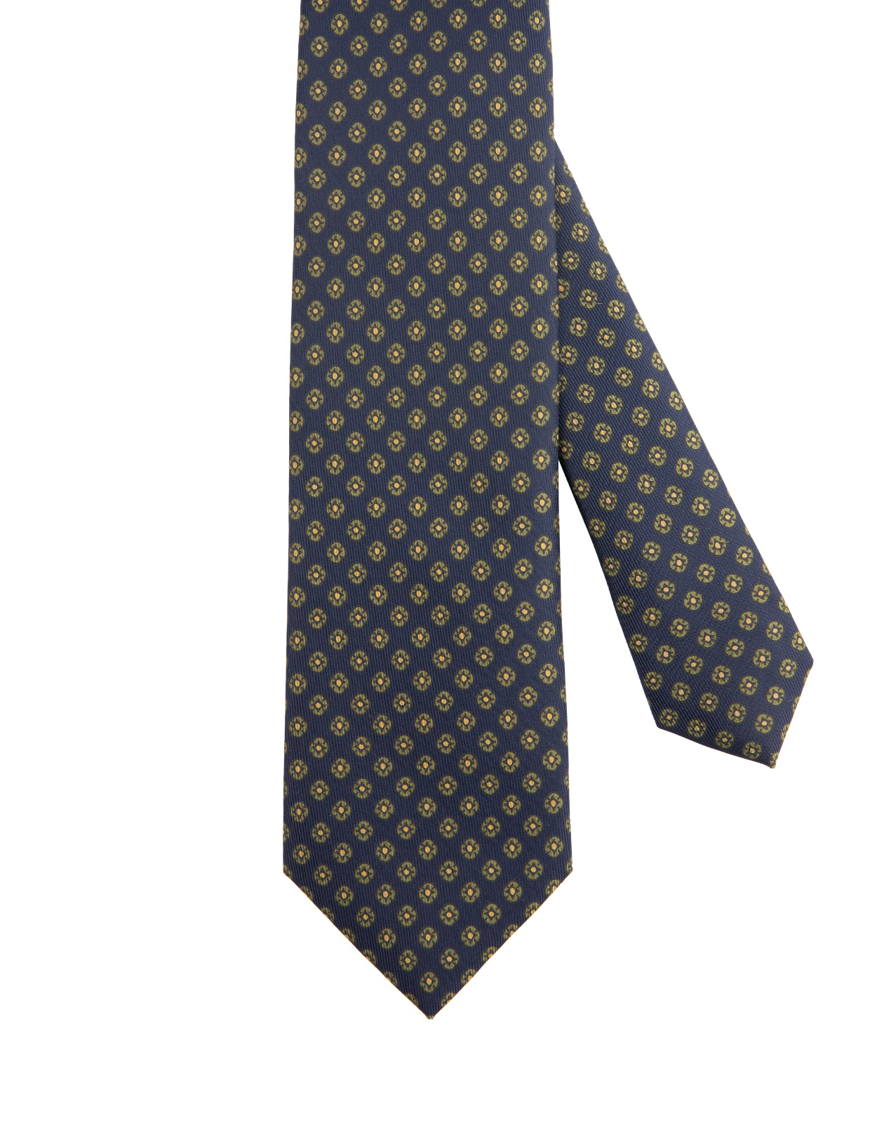 Classic Patterned Handmade Silk Tie Navy