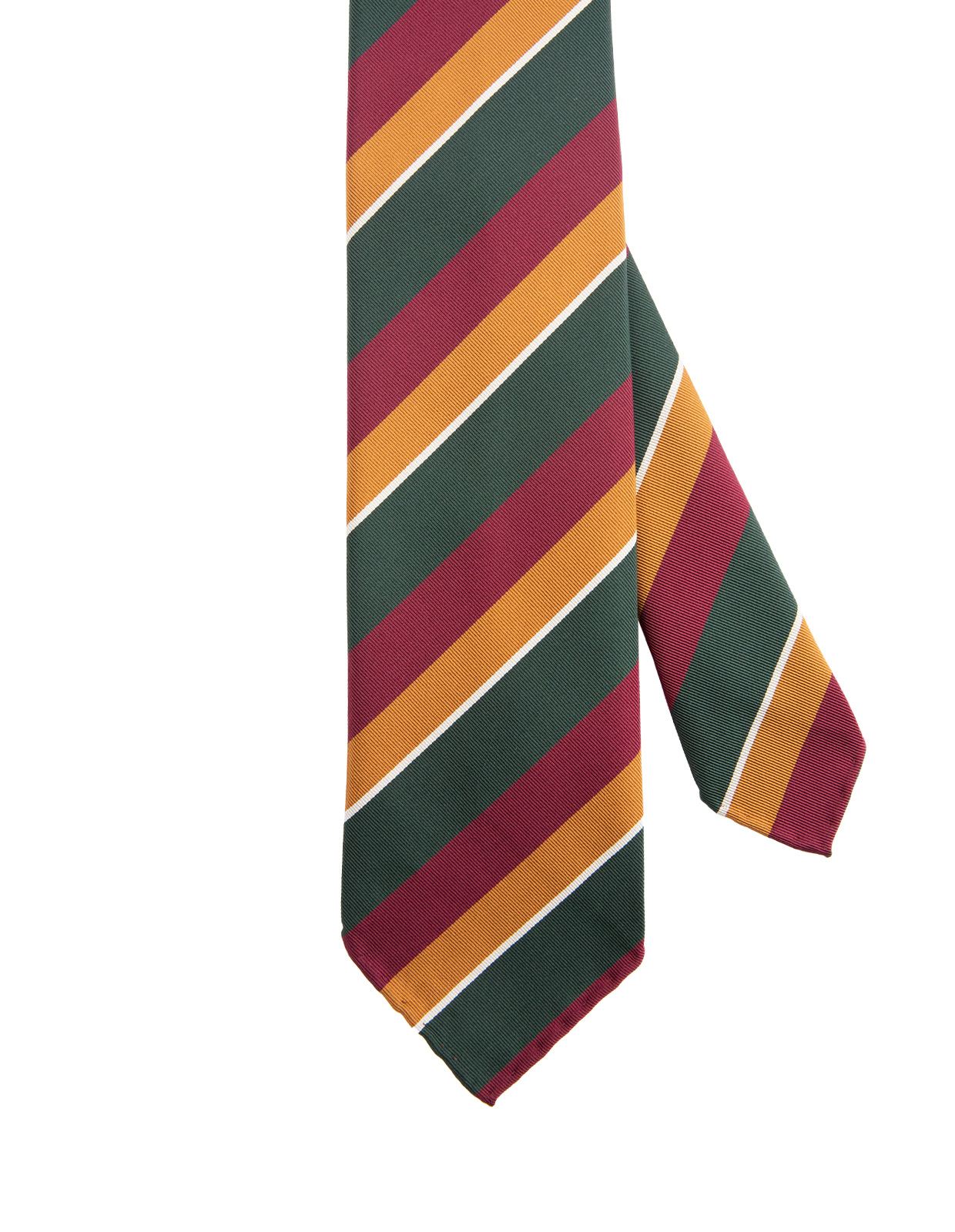 Striped Handmade Untipped Silk Tie Green Rust Wine
