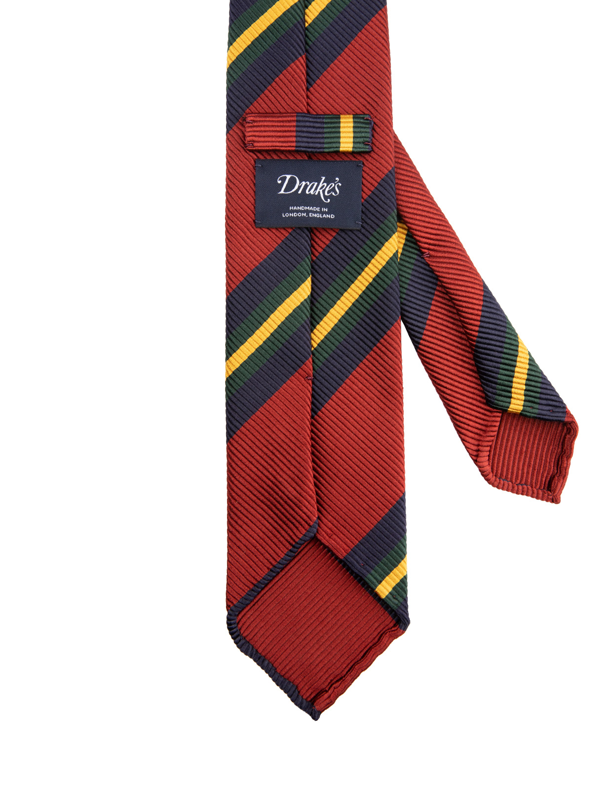 Striped Handmade Untipped Silk Tie Red Blue Yellow