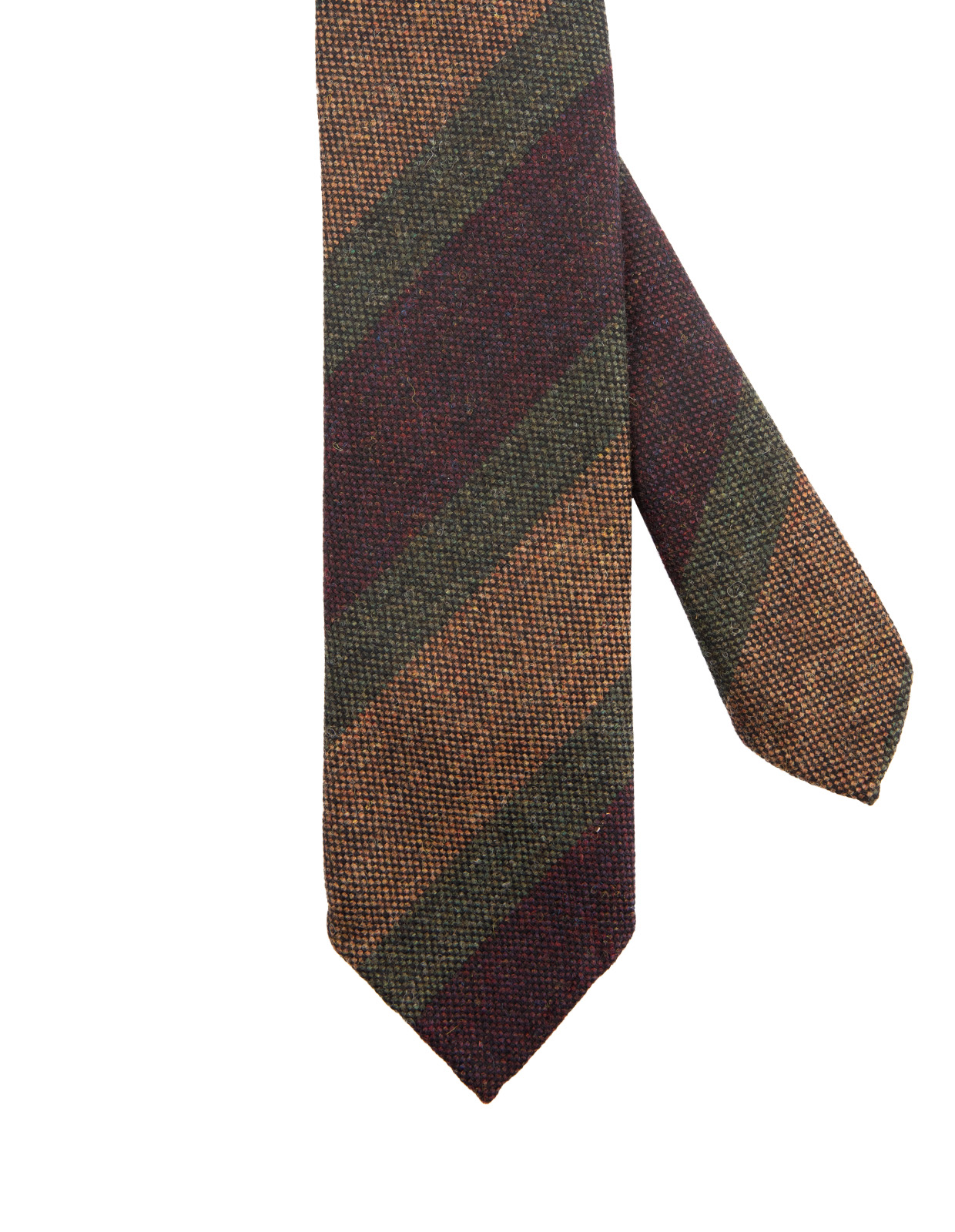 Striped Handmade Untipped Wool Tie BrownGreenWine