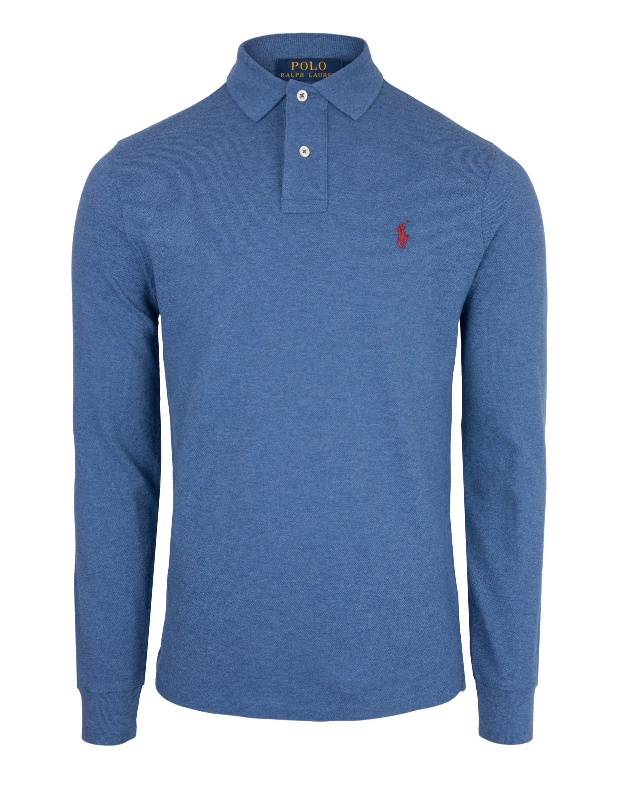 Custom Slim Fit Long Sleeve Polo Royal Heather
