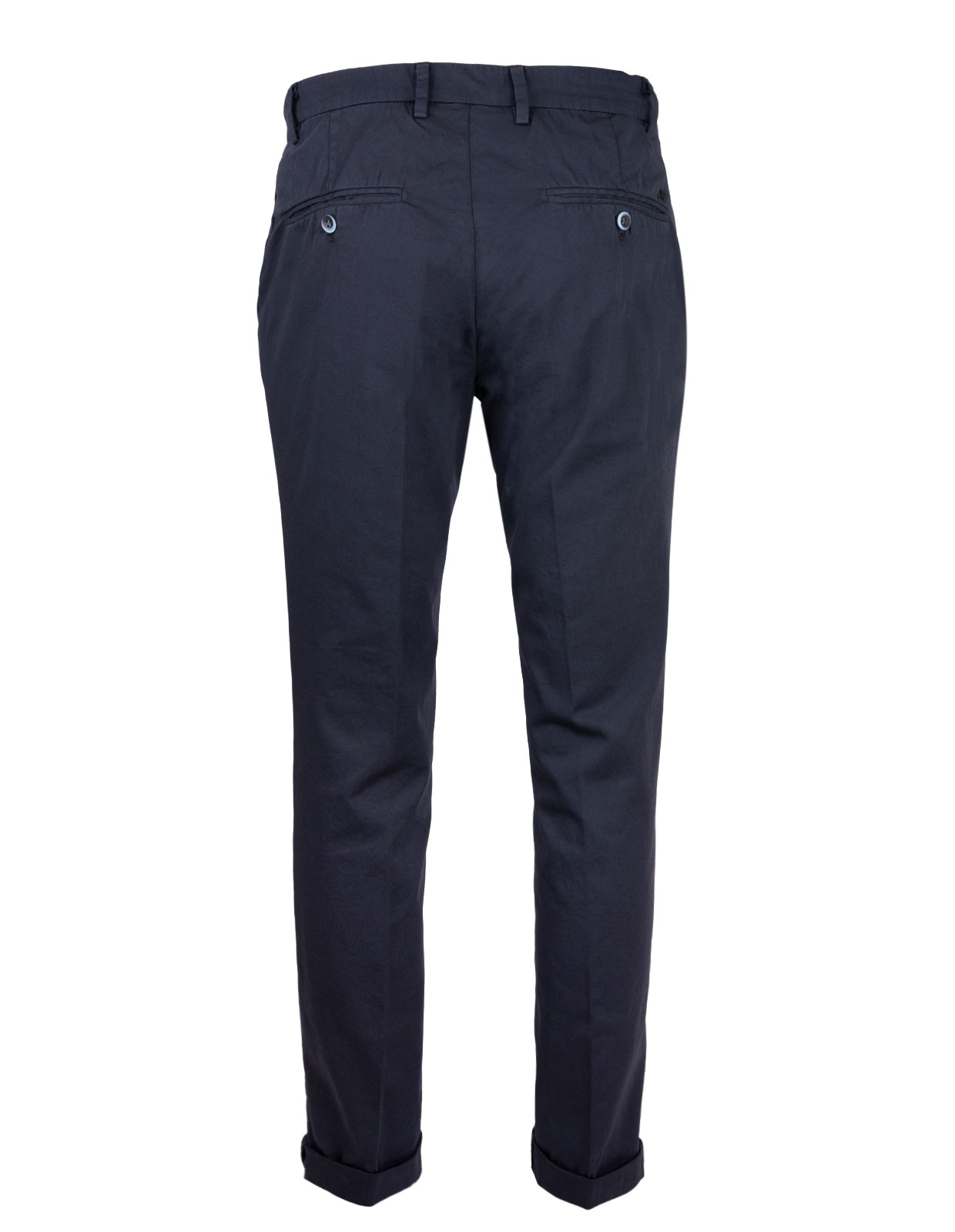 Milano Slim Chinos Cotton Satin Stretch Blue Navy Stl 48