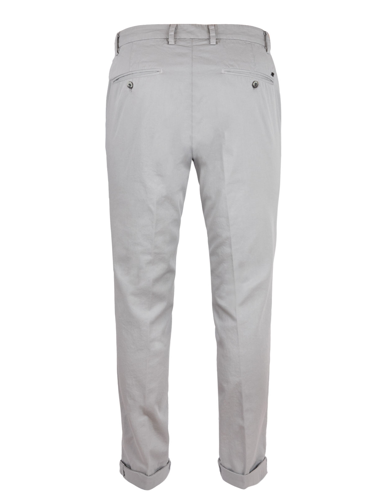 Milano Slim Chinos Cotton Satin Stretch Pearl Grey