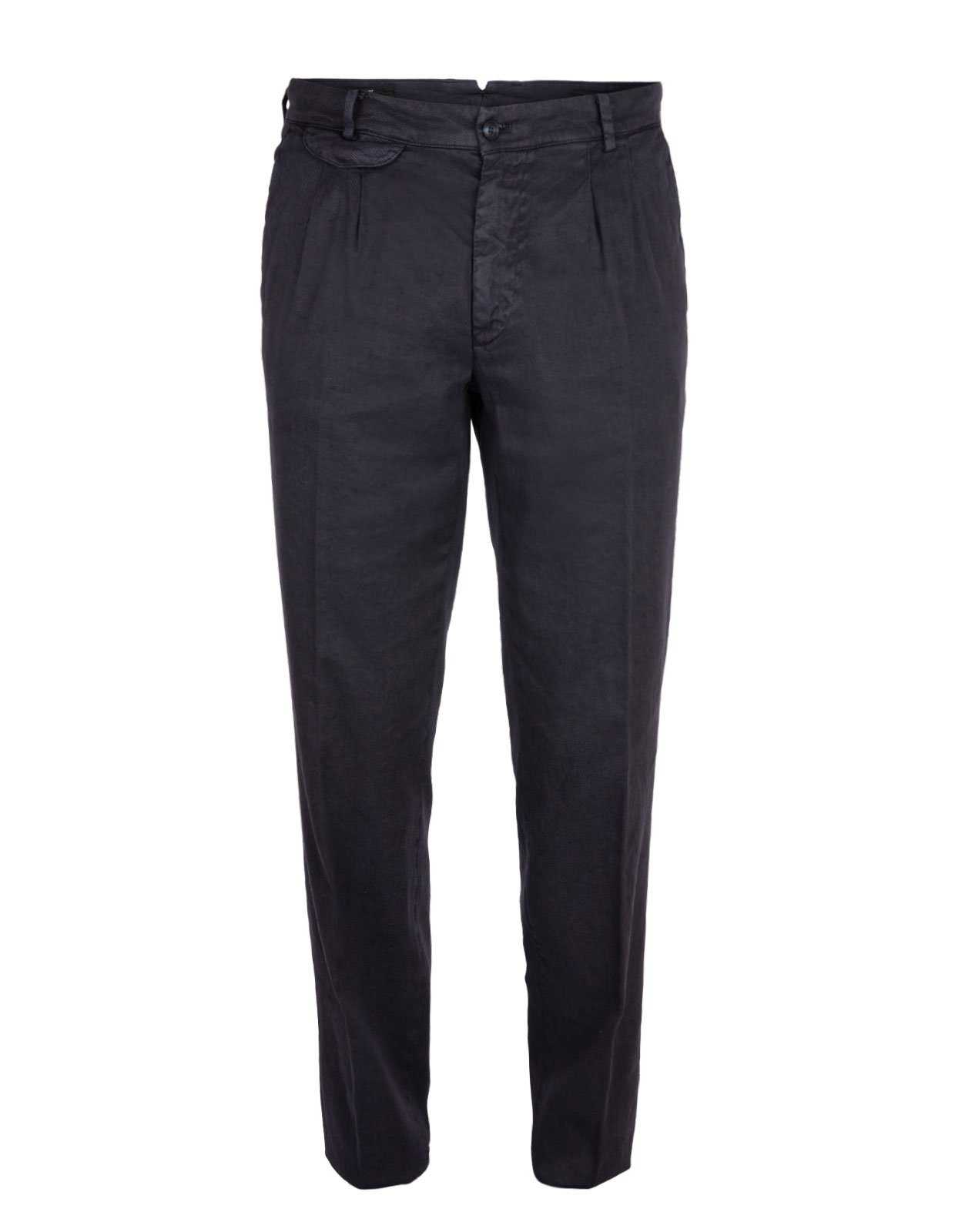 Amalfi Pleat Chinos Linen Cotton Stretch Blue Navy